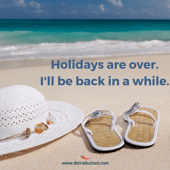 Holidays are over.